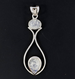 Rainbow Moonstone and Sterling Silver Pendant - PA-22142-13-5