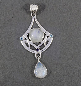 Rainbow Moonstone and Sterling Silver Pendant - PA-21039-01-a131