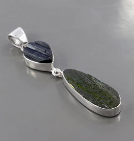 Moldavite, Tourmaline and Sterling Silver Pendant - PA-24161-93-6