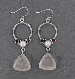 Rose Quartz, Pearl, Garnet and Sterling Silver Earrings - ER-20919-358-90