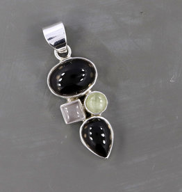 Smoky Quartz, Rose Quartz, Prehnite and Sterling Silver Pendant -PA-21039-01-26-53