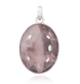 Rose Quartz and Sterling Silver Pendant - AGPA-07-59