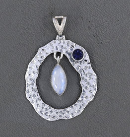 Rainbow Moonstone, Iolite and Sterling Silver Pendant -PA-21039-673-75