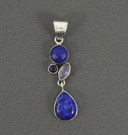 Lapis Lazuli, Rainbow Moonstone, Tanzanite and Sterling Silver Pendant - PA-23265-07-41-A