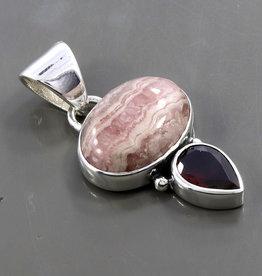 Rhodochrosite, Garnet and Sterling Silver Pendant - PA-20003-48-1-52
