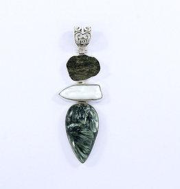 Seraphinite, Pearl, Moldavite and Sterling Silver Pendant - PA-20914-02-102-