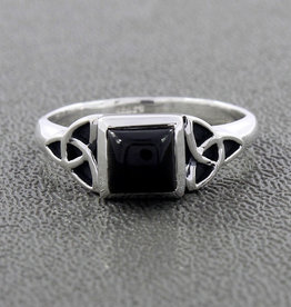 Black Onyx Ring with Sterling Silver Triquetra Ring (Size 7) - R-20467-11- a11