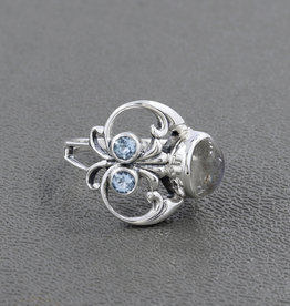 Rainbow Moonstone and Blue Topaz Sterling Silver Ring (Size 8) - R-23326-03-3