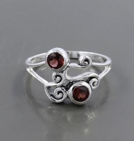 Garnet Sterling Silver Ring (Size 6, 7) - R-23180-01-4-26