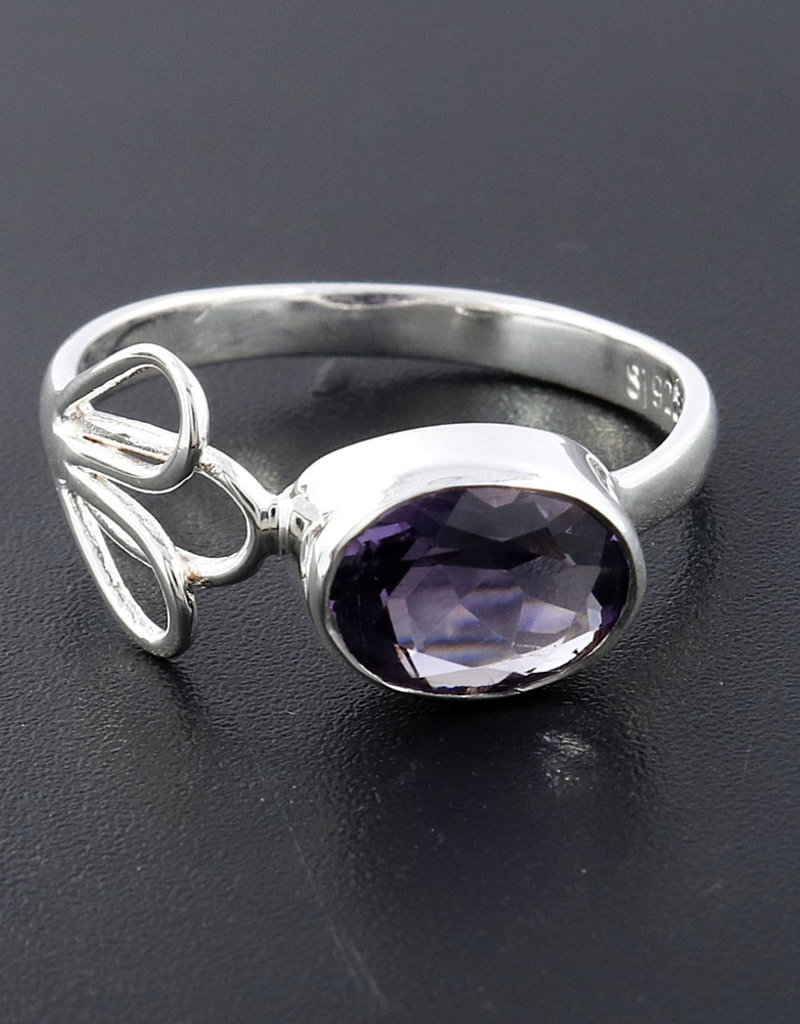 Amethyst and Sterling Silver Ring (Size 8) - R-21156-08-26-4