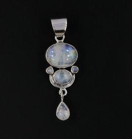 Rainbow Moonstone Sterling Silver Pendant - PA-23713- 01-121