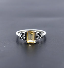Citrine and Sterling Silver Ring (Size 6) - R-22035-05-17-1