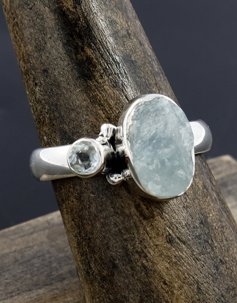 Aquamarine and Blue Topaz and Sterling Silver Ring (Size 6) - R-22044-135