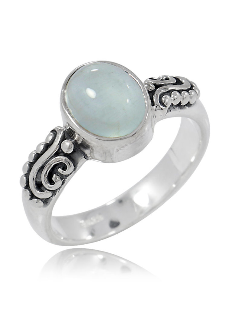 Aquamarine and Sterling Silver Ring (Size 6) - R-20612-26-11