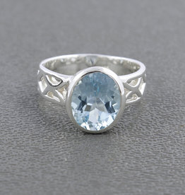 Blue Topaz and Sterling Silver Ring (Size 6) - R-20746-01-3-49
