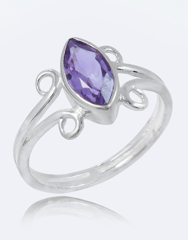 Amethyst and Sterling Silver Ring (Size 7, 8) - R-21166-04