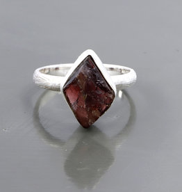 Garnet and Silver Ring (Size 8) - R-20229-475-14