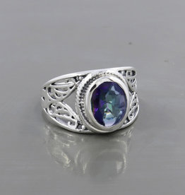 Mystic Quartz and Sterling Silver Ring (Size 8) - R-22850-04-8-38