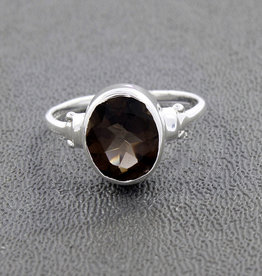 Smoky Quartz and Sterling Silver Ring (Size 7, 8) - R-21159-01-b01