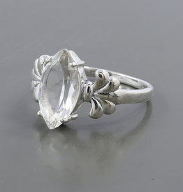 Clear Quartz and Sterling Silver Ring (Size 7) - R-22843-07-26-11