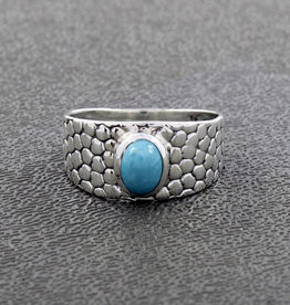 Turquoise and Sterling Silver Ring (Size 6, 7) - R-22938-06-26-9