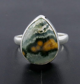 Ocean Jasper and Sterling Silver Ring (Size 6) - R-20229-38-27-1