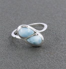 Larimar and Sterling Silver Ring (Size 6) - R-22913-04-29-5