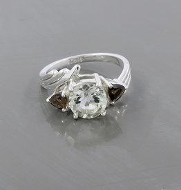 Prasiolite, Smoky Quartz Silver and Sterling Silver Ring (Size 6) - R-21152-19-34-7
