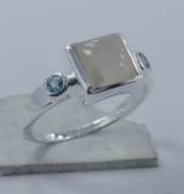 Rainbow Moonstone, Topaz Sterling Silver Ring (Size 8) - R-22701-0