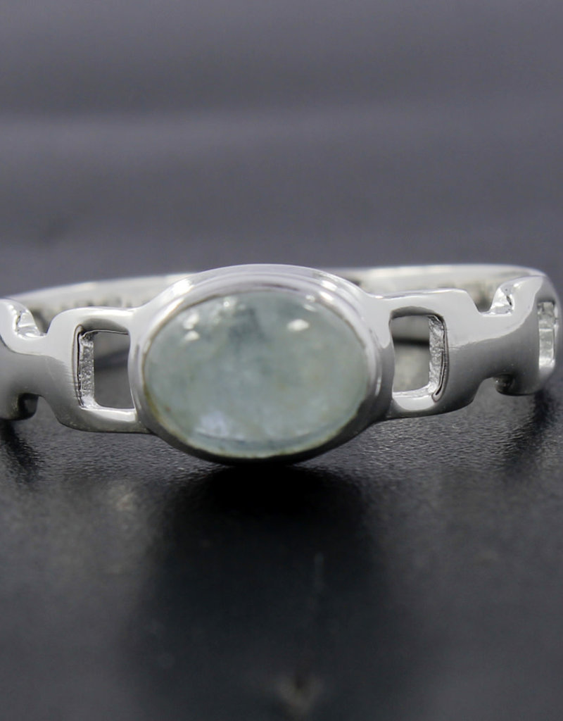 Aquamarine and Sterling Silver Ring (Size 7) - R-20549-29-24-5