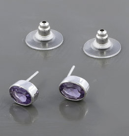 Amethyst and Sterling Silver Stud Earrings -  ER-21550-34