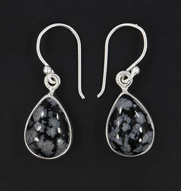 Snowflake Obsidian and Sterling Silver Earrings - ER-20006-56-15