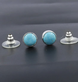 Turquoise and Sterling Silver Stud Earrings -  ER-20034-188-c41
