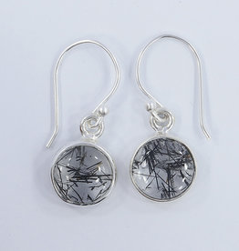 Black Rutilated Quartz and Sterling Silver Earrings - ER-20006-96-11