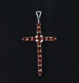 Garnet and Sterling Silver Cross Pendant - PA-24140-02-a23