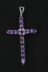Amethyst Cross and Sterling Silver Pendant - PA-24140-a154
