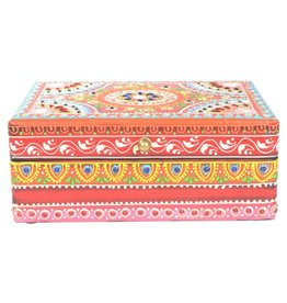 Box - Hand Painted Wooden Box - Red - 7.5 x 4 inches - 65004