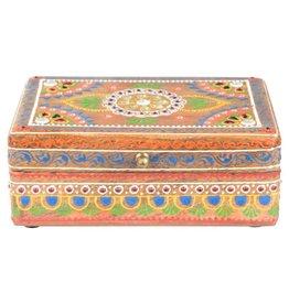 Box - Hand Painted Wooden Box - 7.5 x 5.5 - Natural - 65005