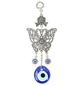 Wall Hanging -  Evil Eye with Butterfly - 7.5 x 3 inches - 6351