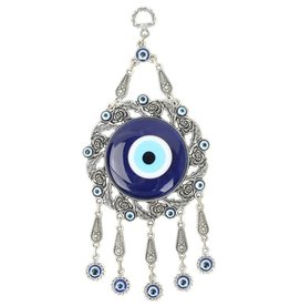 Wall Hanging - Evil Eye with Roses and Leaves - 9 x 4 inches - 6350