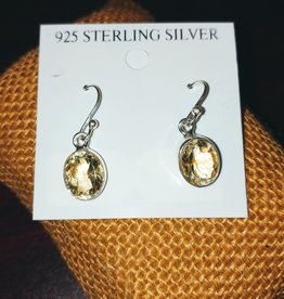 Earrings - Citrine and Sterling Silver - Oval