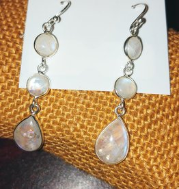 Earrings - Moonstone and Sterling Silver - 3 Tier Dangling