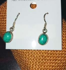 Earrings - Turquoise and Sterling Silver - Oval