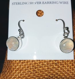 Earrings - Moonstone and Sterling Silver - Round