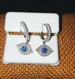 Earrings - Elegant Evil Eye and Sterling Silver - Dangling