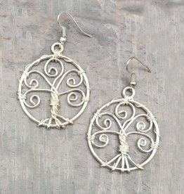Earrings - Tree with Swirls - Silver Plated - E413