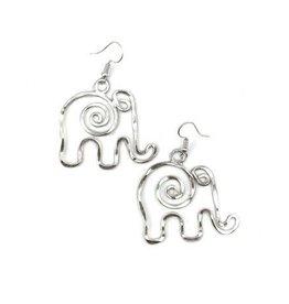 Earrings - Elephant - Silver Plated - E399