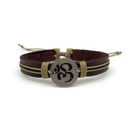 Bracelet - Om with Leather Strap - Adjustable - B1307L7