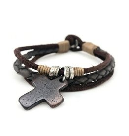 Mens Bracelet - Triple Strand with Cross - B8033