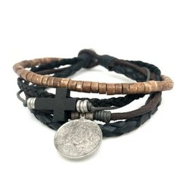Mens Bracelet - Five Strands with Cross and Medal - B8032